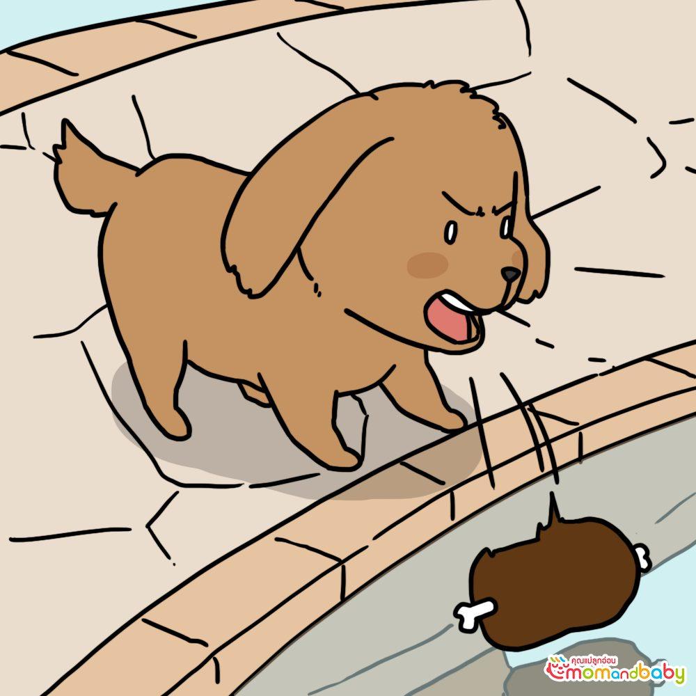จากนั้นเจ้าสุนัขจอมโลภก็คำรามใส่สุนัขในแม่น้ำ