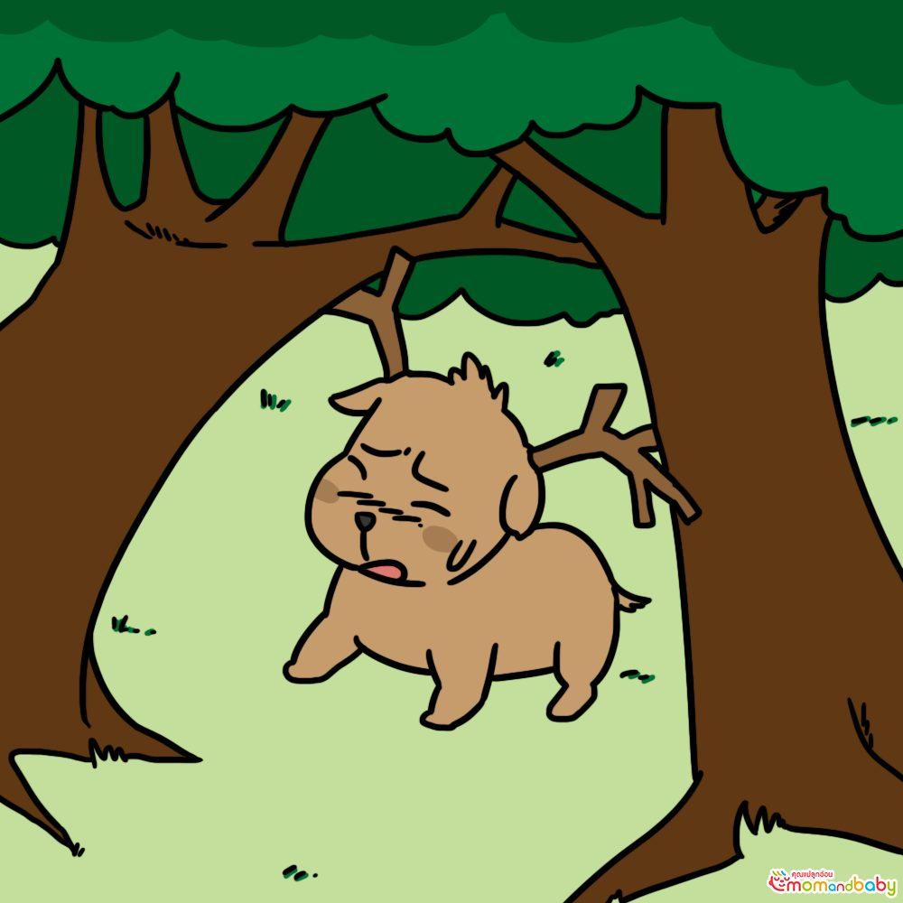 เขากวางขนาดใหญ่ของมันพันกันกับกิ่งไม้และมันก็ติดอยู่ในป่า