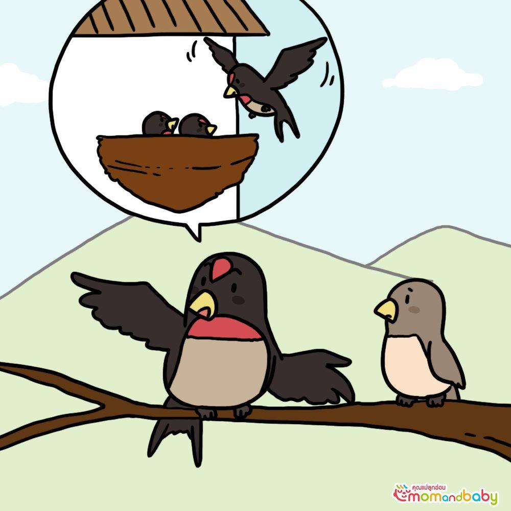 นกนางแอ่นพูดกับนกไนติงเกล