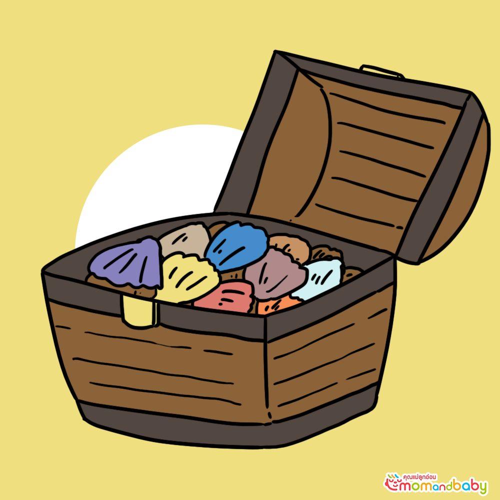 เปลือกหอยทั้งหมดผสมกันในกล่องและต้องใช้เวลาพอสมควรกว่าจะพบเปลือกหอย
