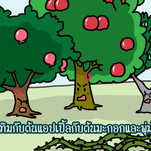 ต้นทับทิมกับต้นแอปเปิ้ลกับต้นมะกอกและพุ่มไม้